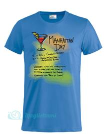 Magliettami T-shirt Cocktail Manhattan Celeste